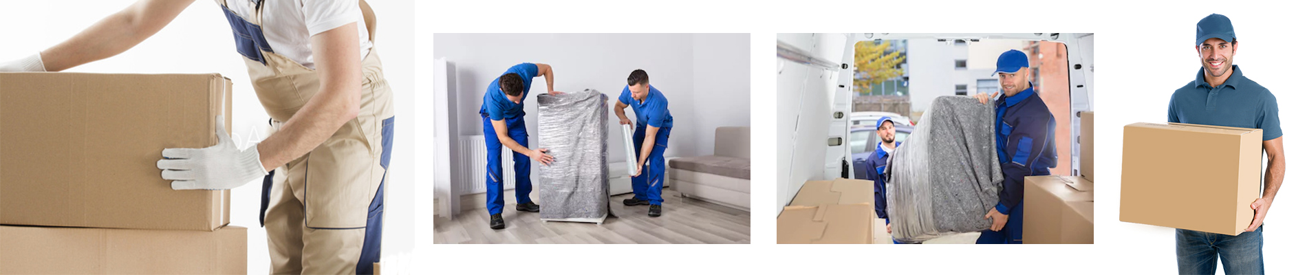 man moving boxes