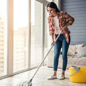 woman cleaning the floor