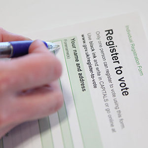 man filling a form