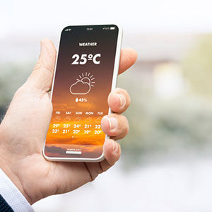 mobile shows weather 25C
