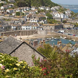 Mousehole harbor and town